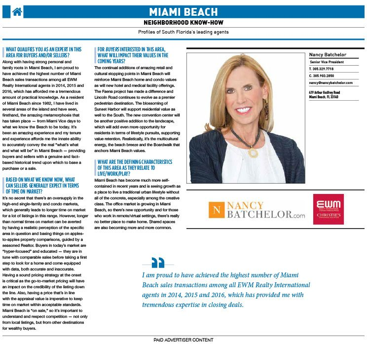 Miami Beach Neighborhood Know How: Profiles of South Florida's leading agents