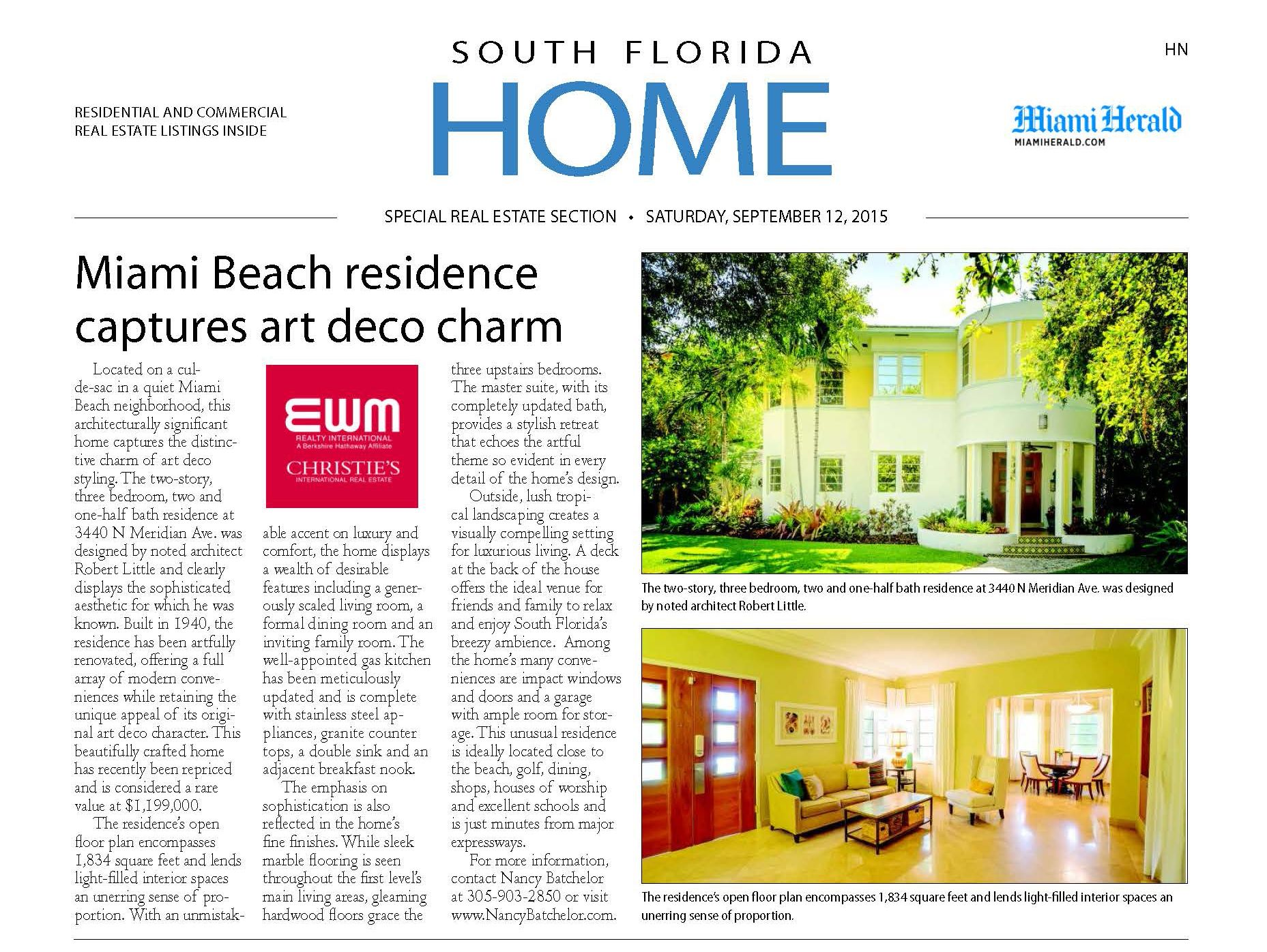 MIAMI BEACH ART DECO HOME FEATURED IN MIAMI HERALD